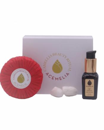 Cuidado del rostro con aceite de camelia: jabón facial, aceite y capullos